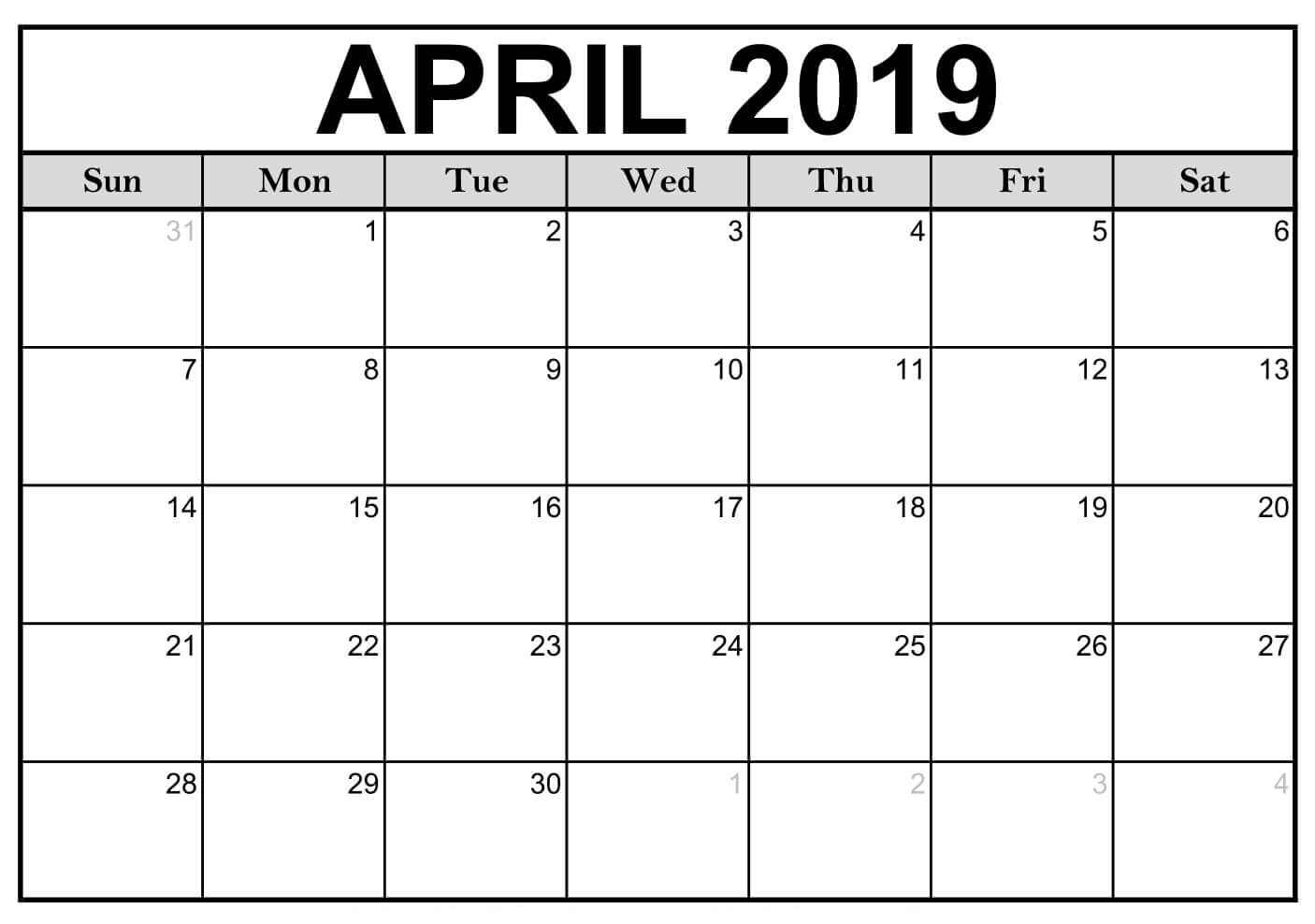 Free Printable April 2019 Calendar Download