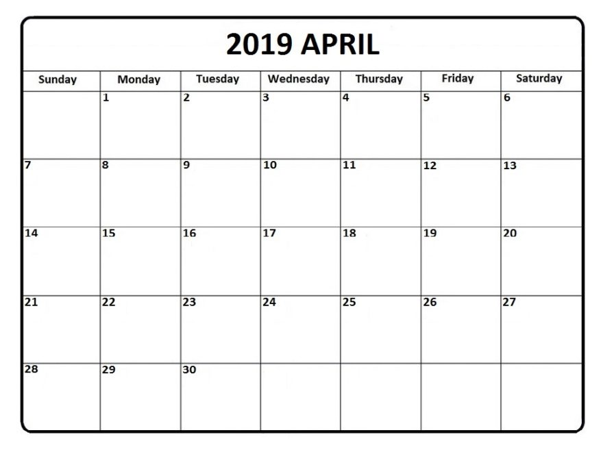 Free Printable April 2019 Calendar Downloadable