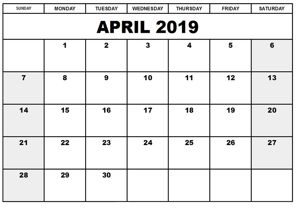Free Printable April 2019 Calendar Fillable