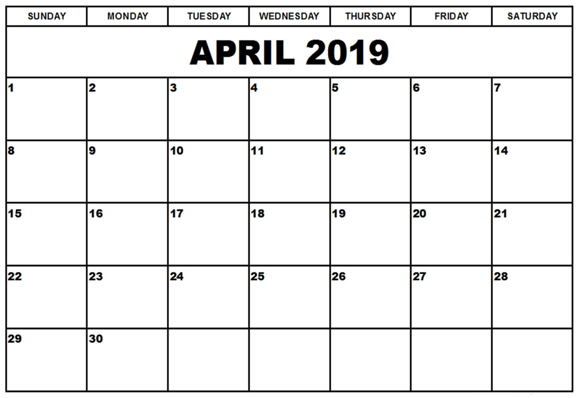 Free Printable April 2019 Calendar Full Page