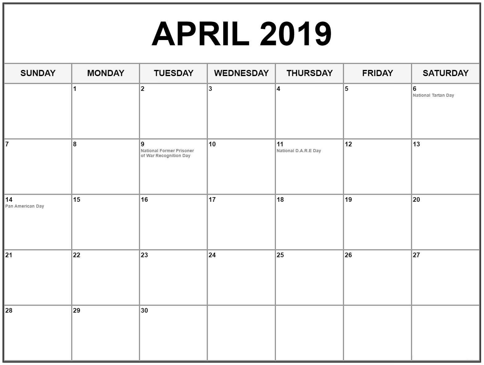 Free Printable Monthly April 2019 Calendar With Holidays