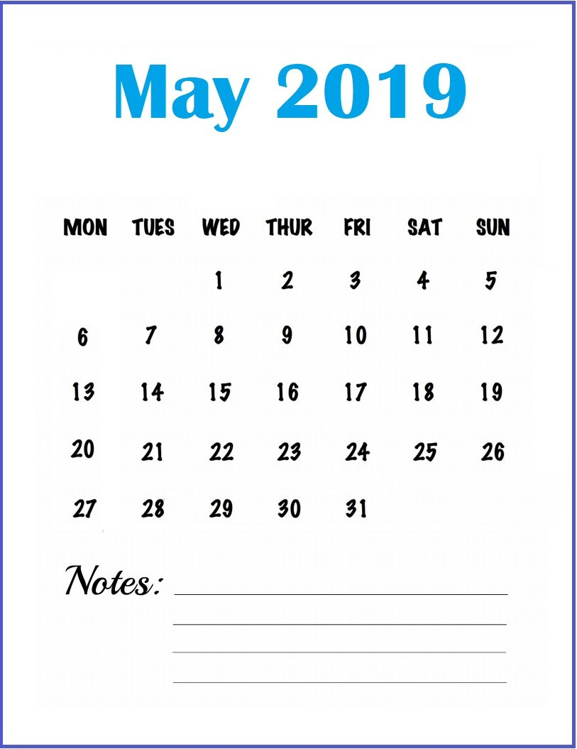 May 2019 Blank Calendar Template for Wall