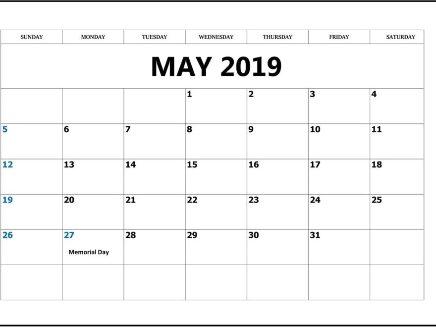 May 2019 Blank Calendar With Holidays