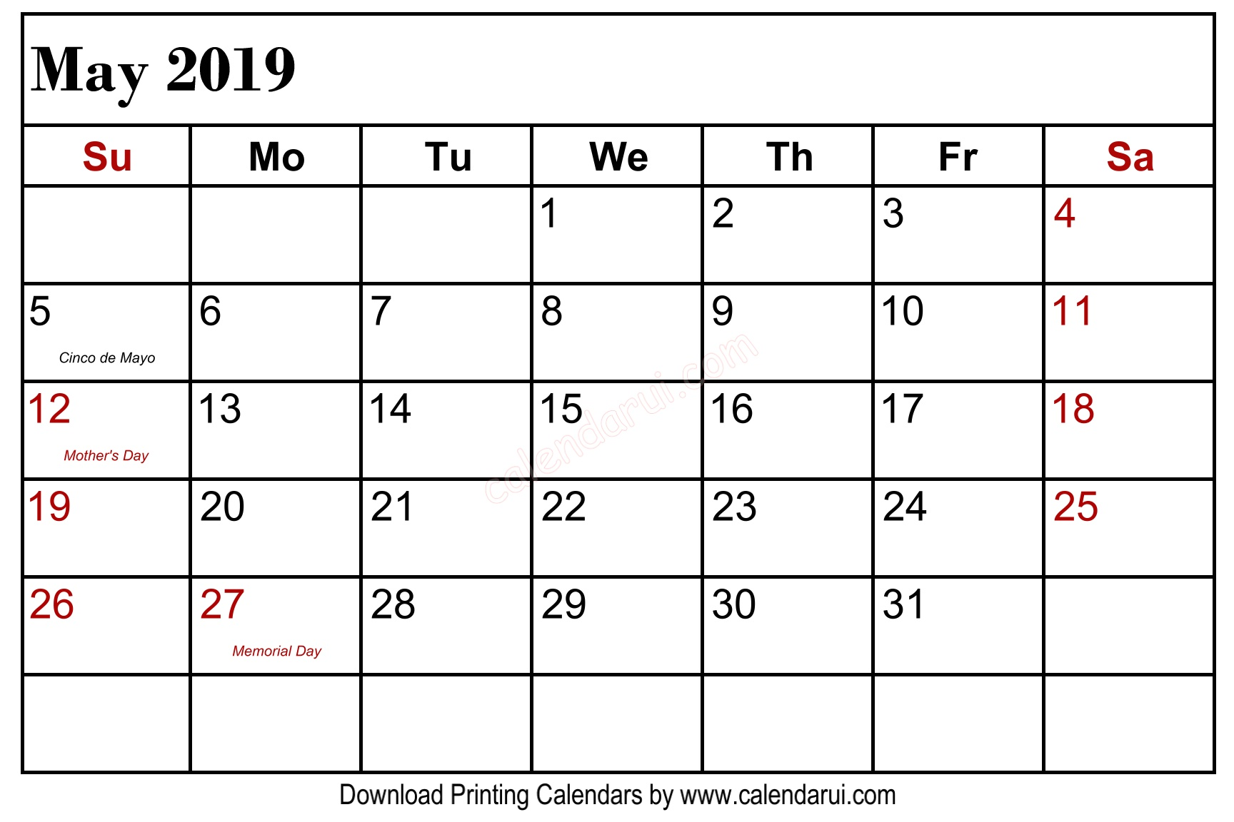May 2019 Calendar With Holidays Canada
