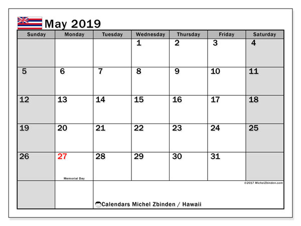 May 2019 Calendar With Holidays Hawaii