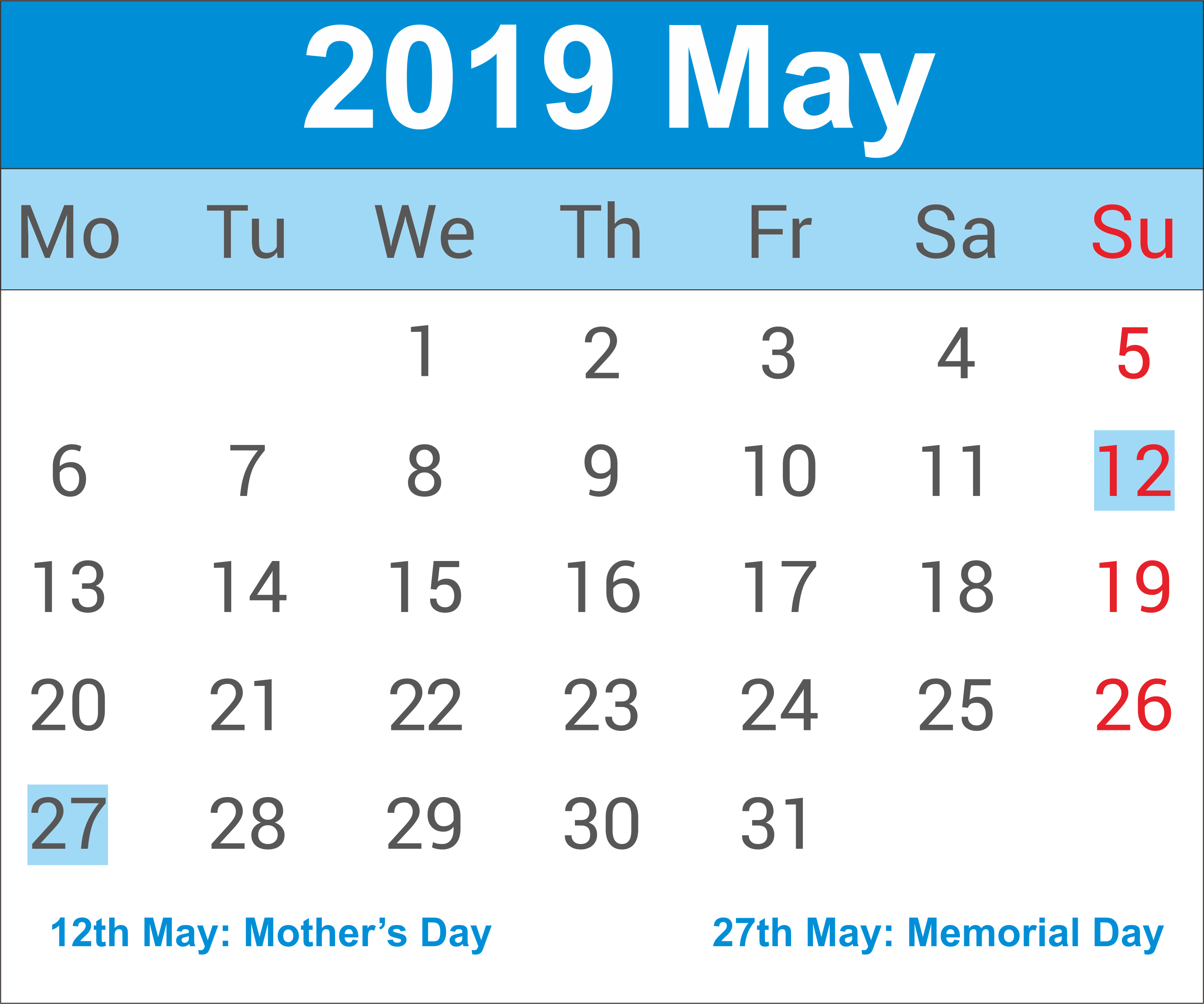 May 2019 Calendar With Holidays India
