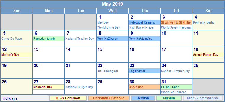 May 2019 Calendar With Holidays USA