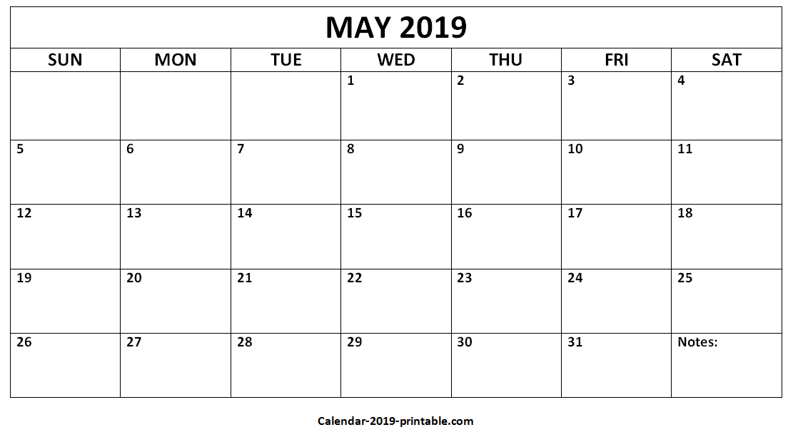 May 2019 Printable Blank Monthly Calendar