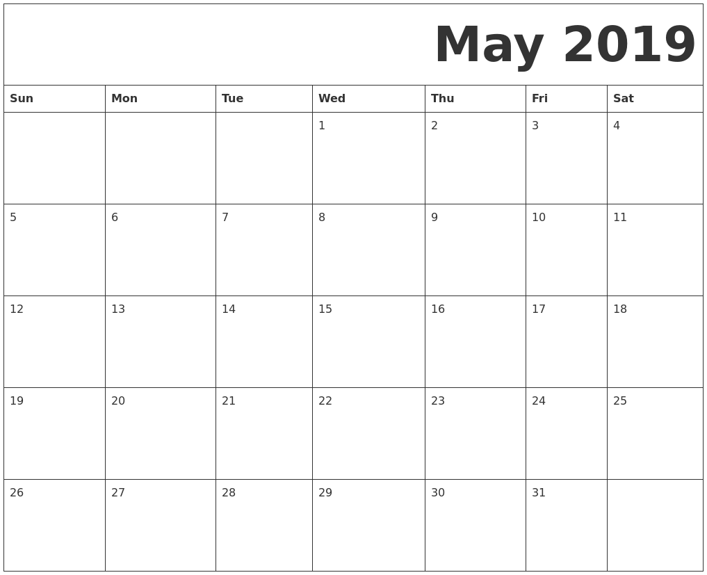 May 2019 Printable Calendar Word