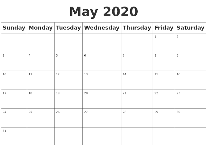 May 2020 Blank Calendar Events