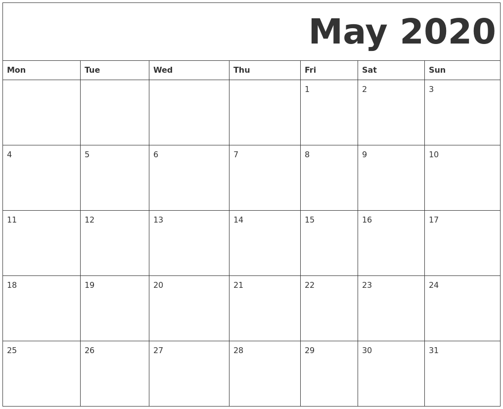 May 2020 Calendar Template With Holidays