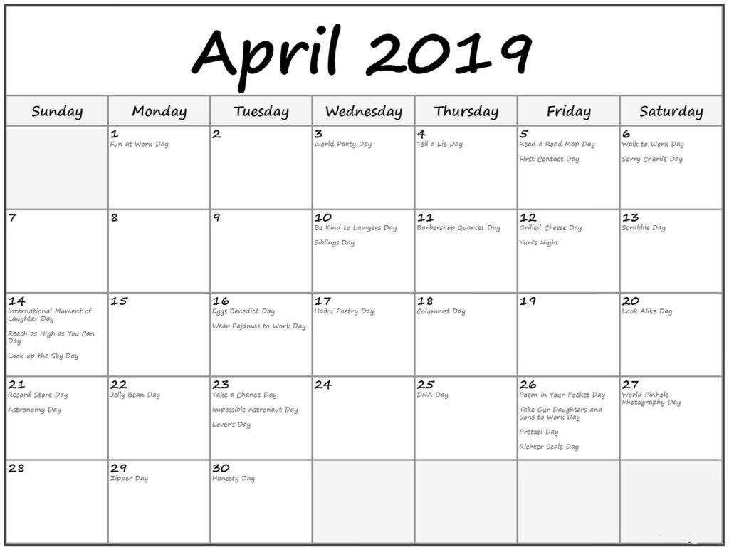 Monthly April 2019 Calendar With Holidays