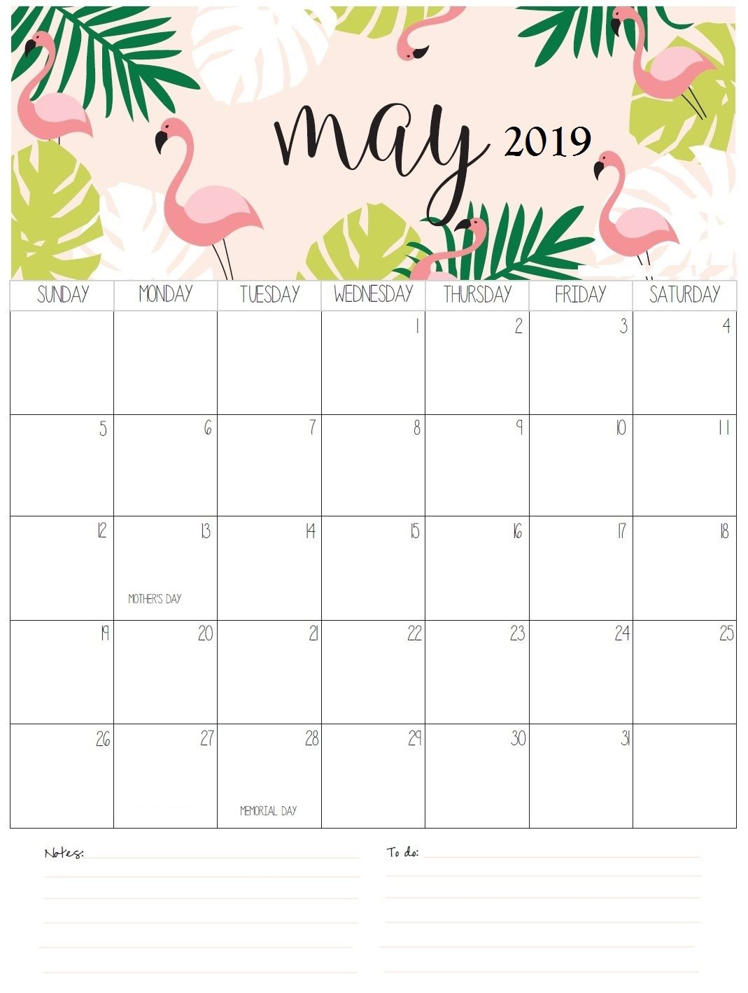 Personalized May 2019 Calendar Cute