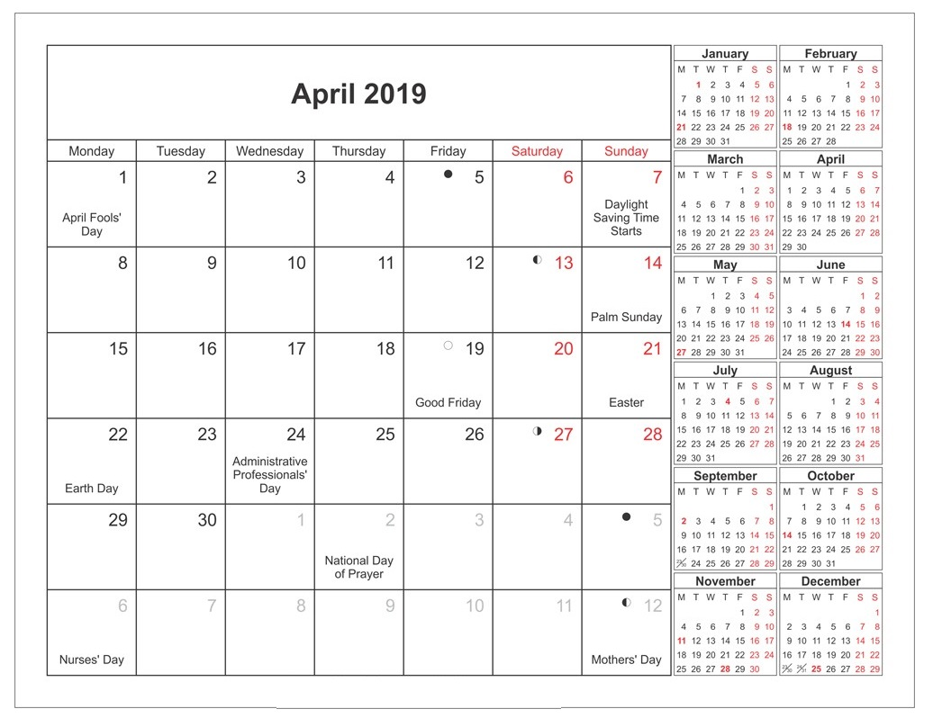 Print April 2019 Holidays Calendar