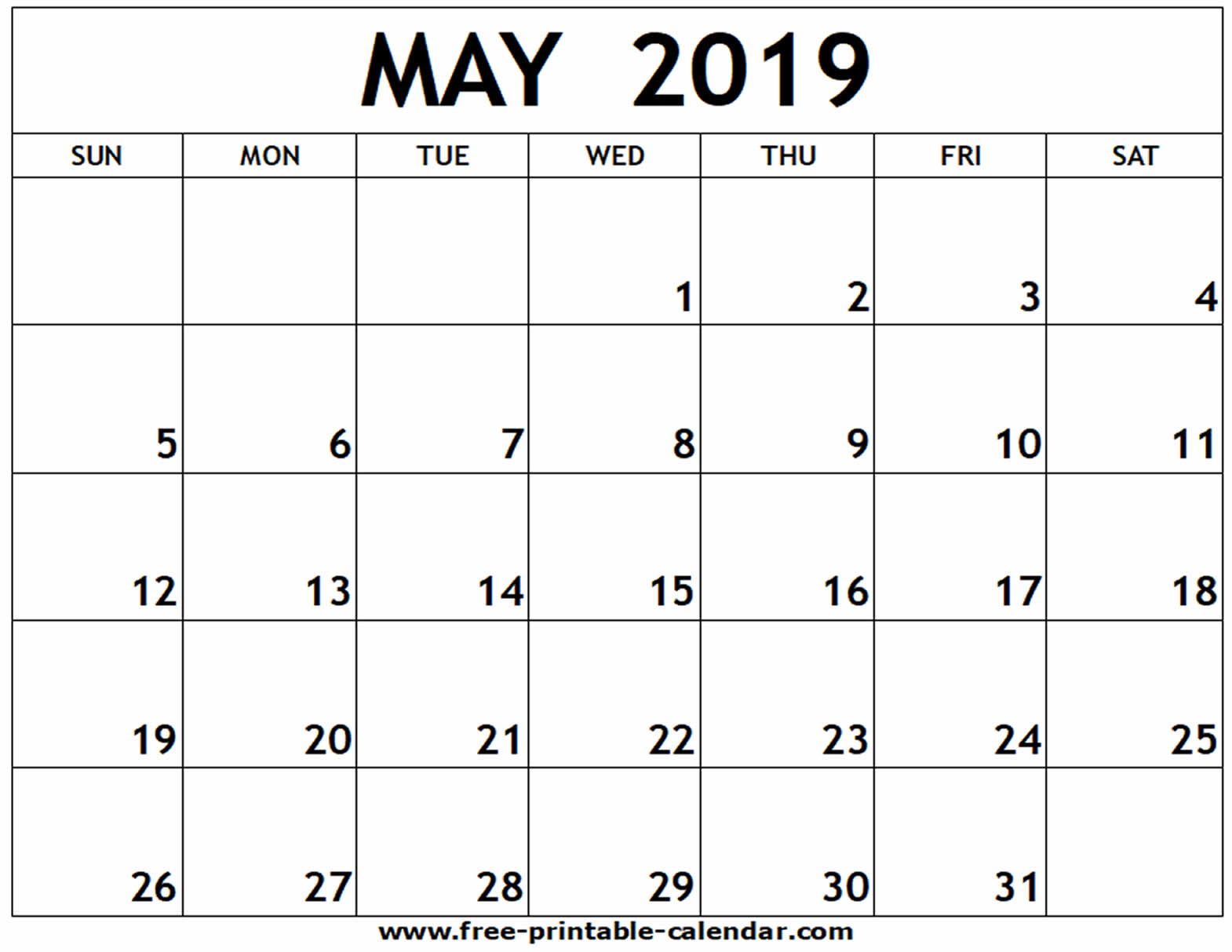 Print May 2019 Calendar PDF, Word, Excel Template