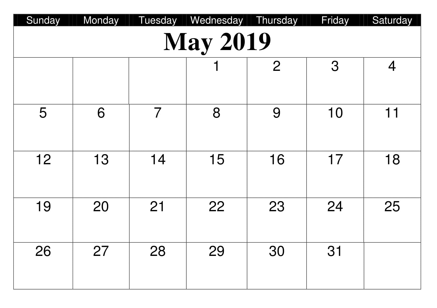 Print May 2019 Calendar With Notes