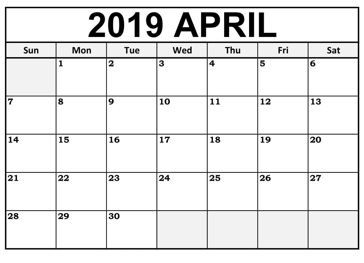 Printable April 2019 Calendar Downloadable