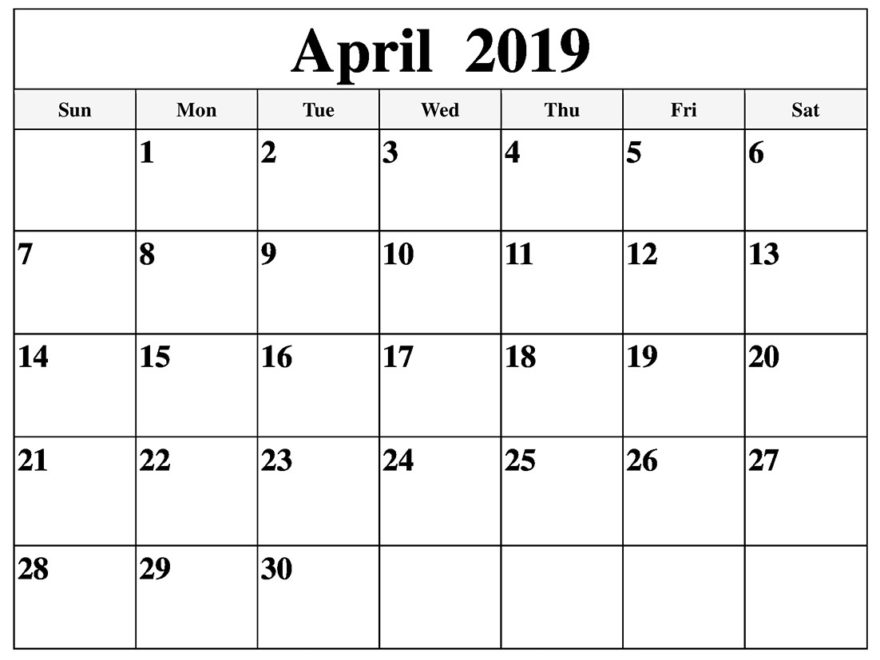 Printable April 2019 Calendar Full Page