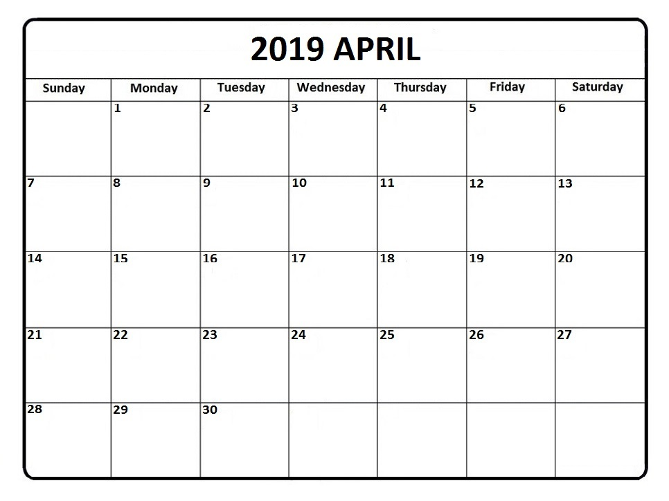 Printable April 2019 Calendar Word PDF Excel