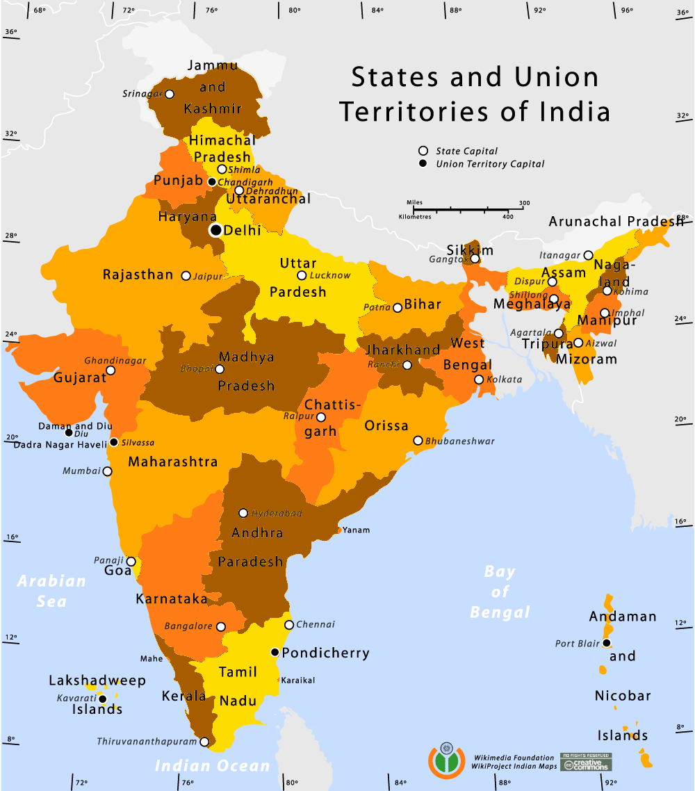 Map of India Showing States