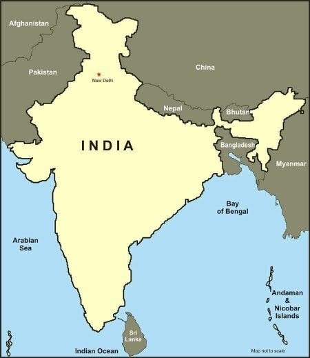 Map of India and Neighbouring Countries