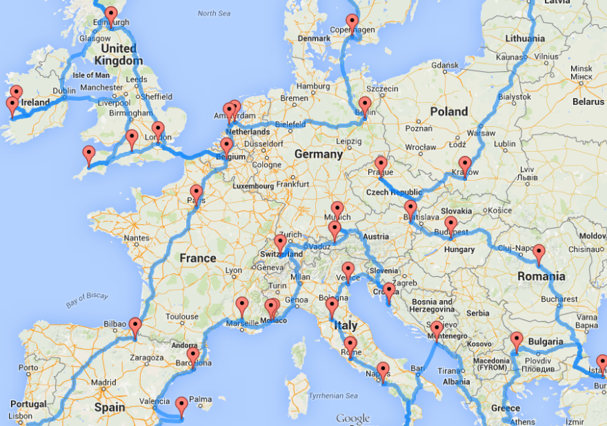 Online Europe Road Trip Map