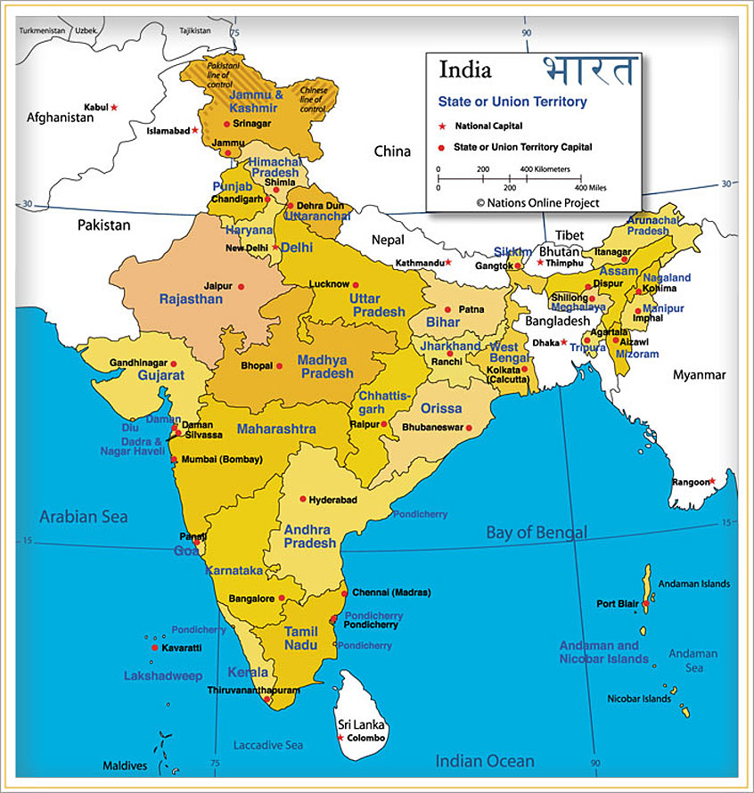 Online Map of India with States