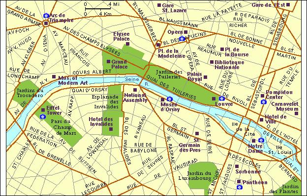 Paris City Centre Map