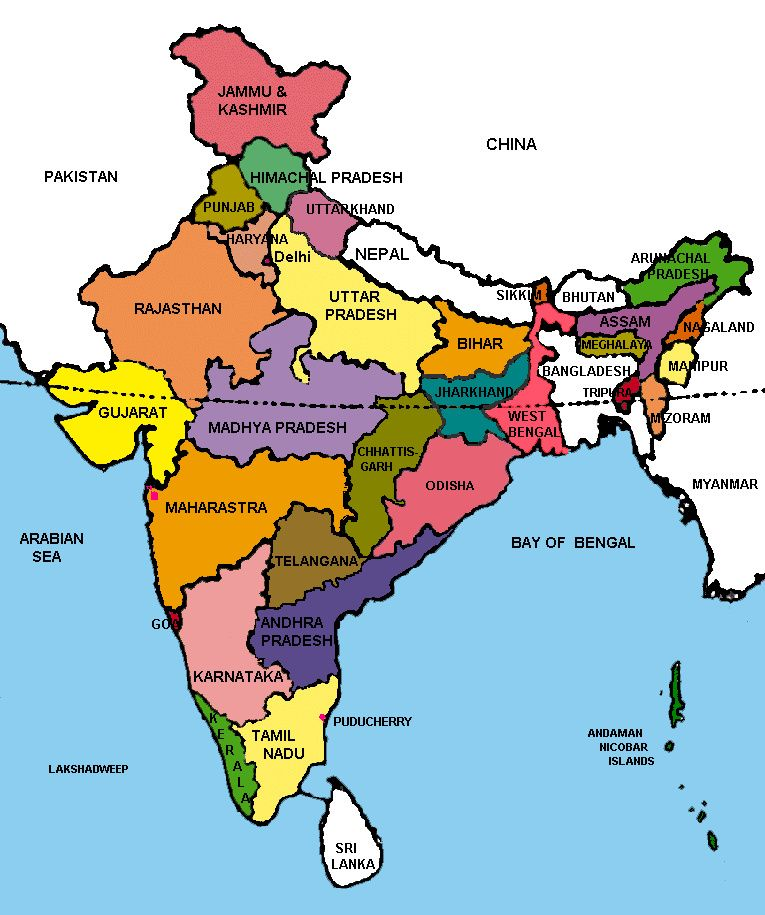 Political Map of India With States and Capitals