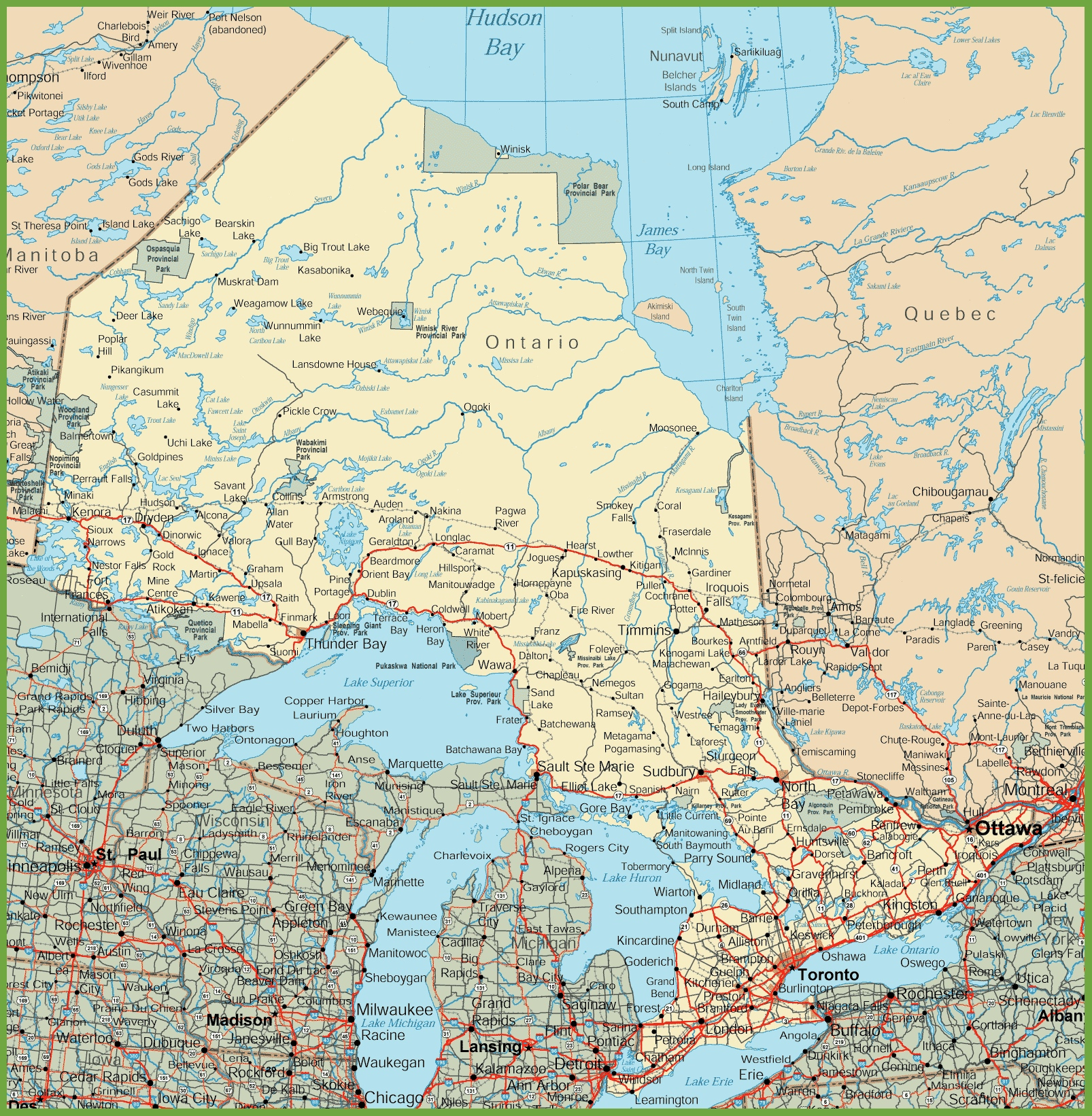 Printable Ontario Road Map