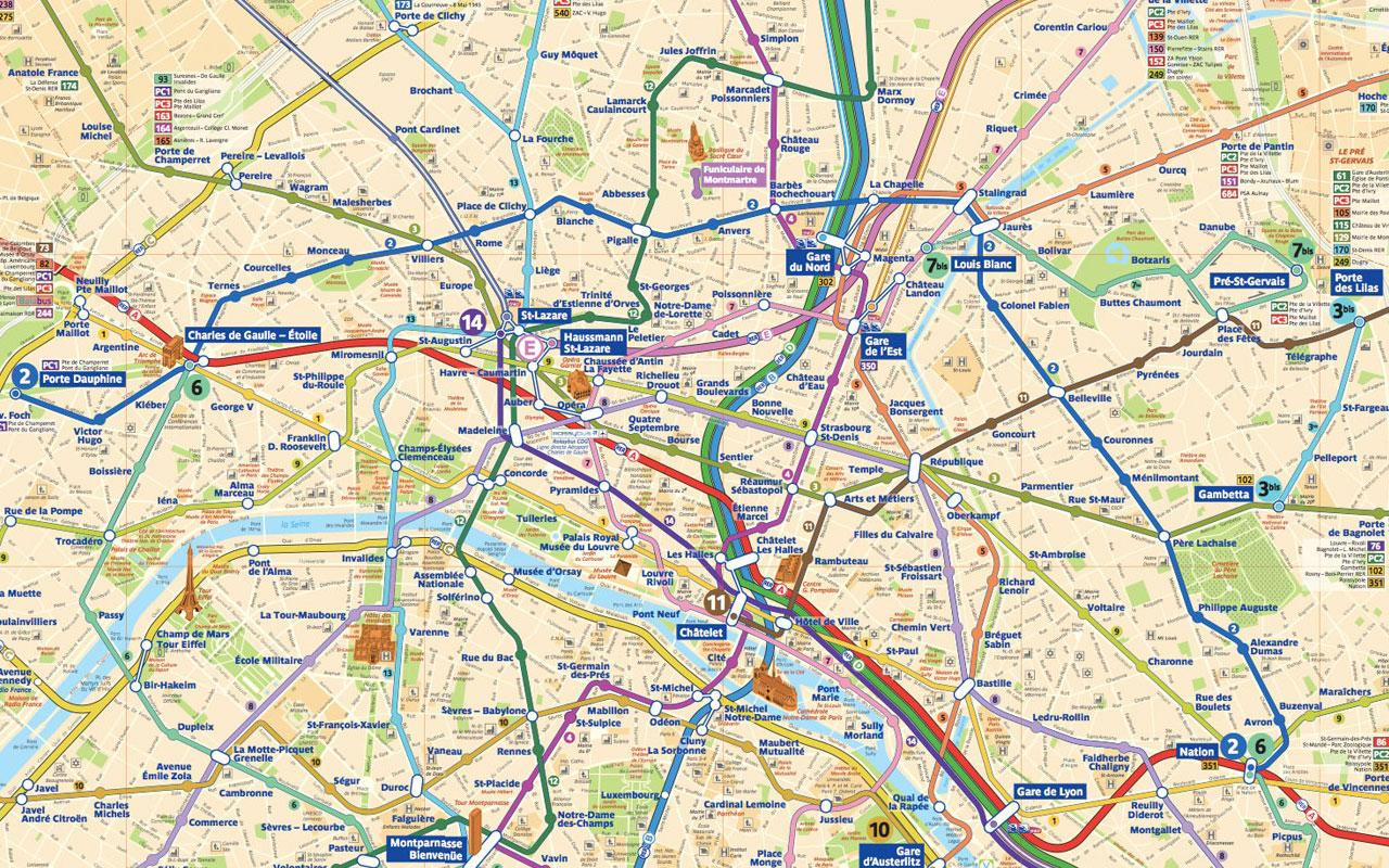 Printable Paris City Map with Metro Stations