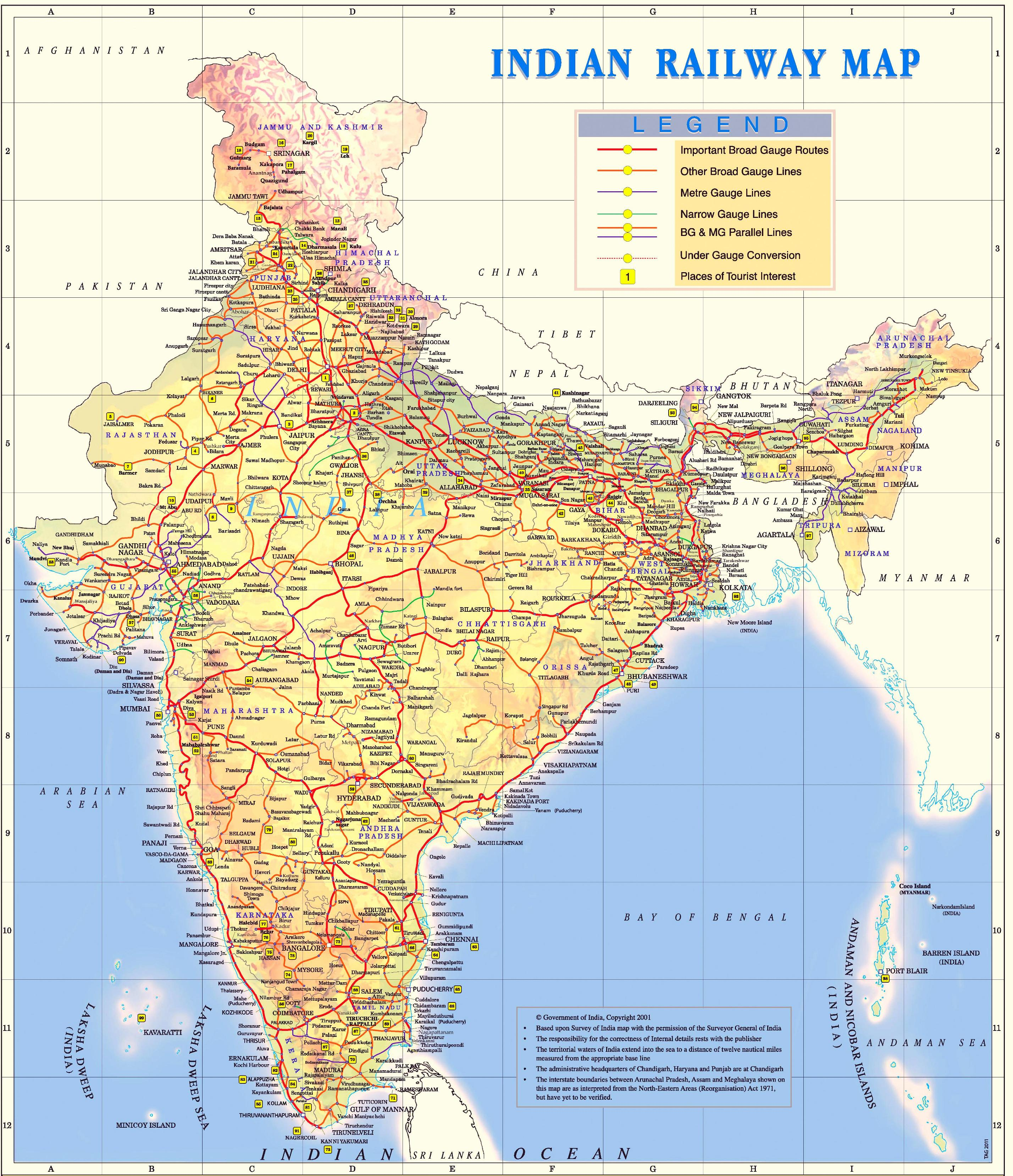 Railway Map of India