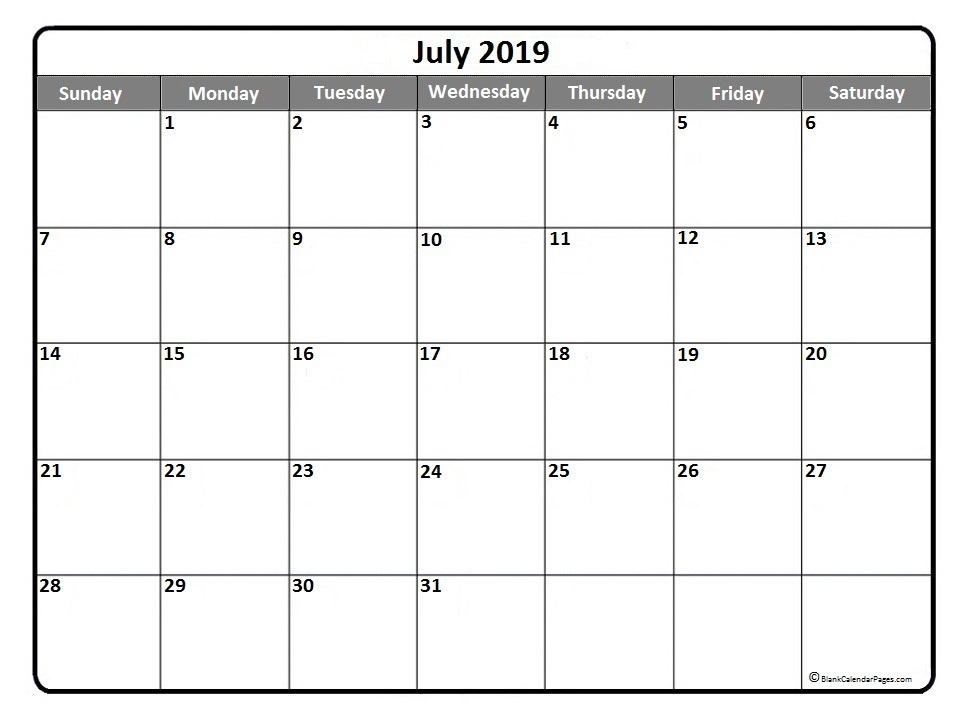 2019 July Monthly Printable Calendar