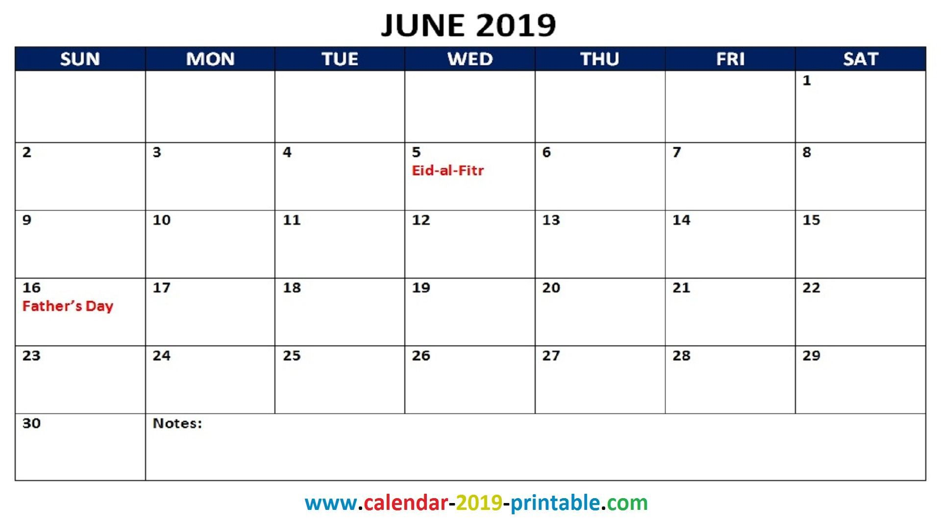 2019 June Calendar With Holidays