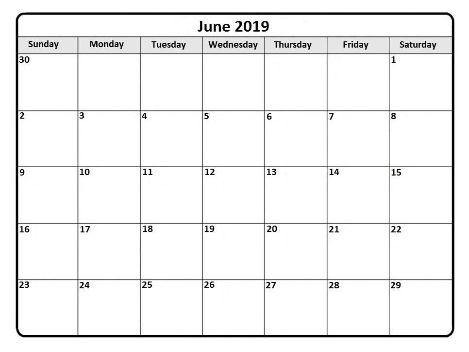 2019 June Monthly Printable Calendar