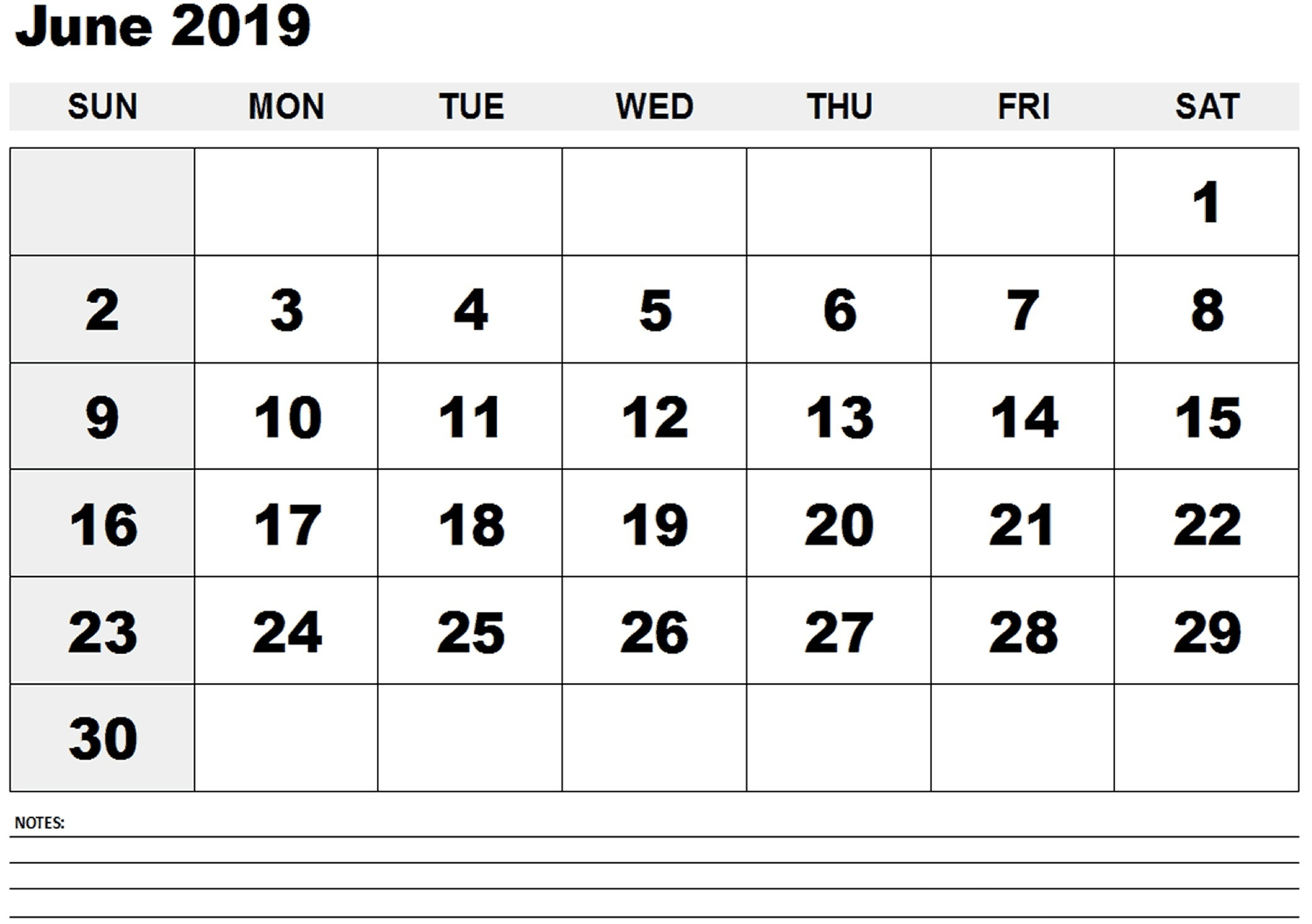 photo relating to Printable June Calendars named June 2019 Printable Calendar Template Via 7 days and Thirty day period