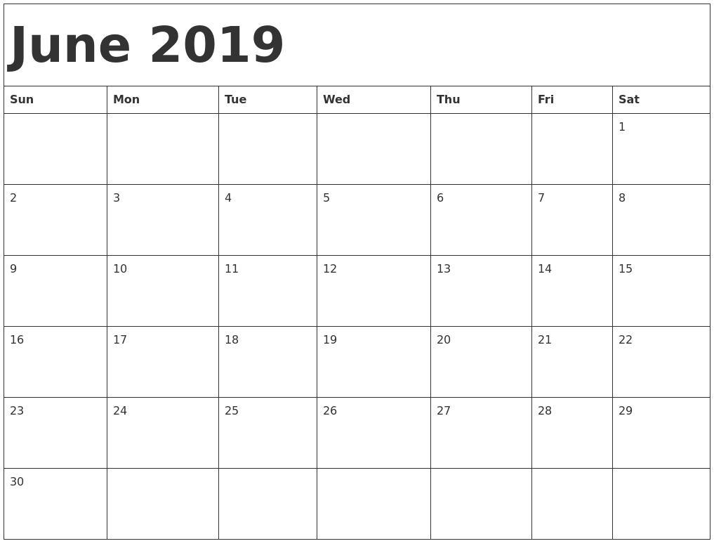 June 2019 Monthly Calendar Printable Free Templates