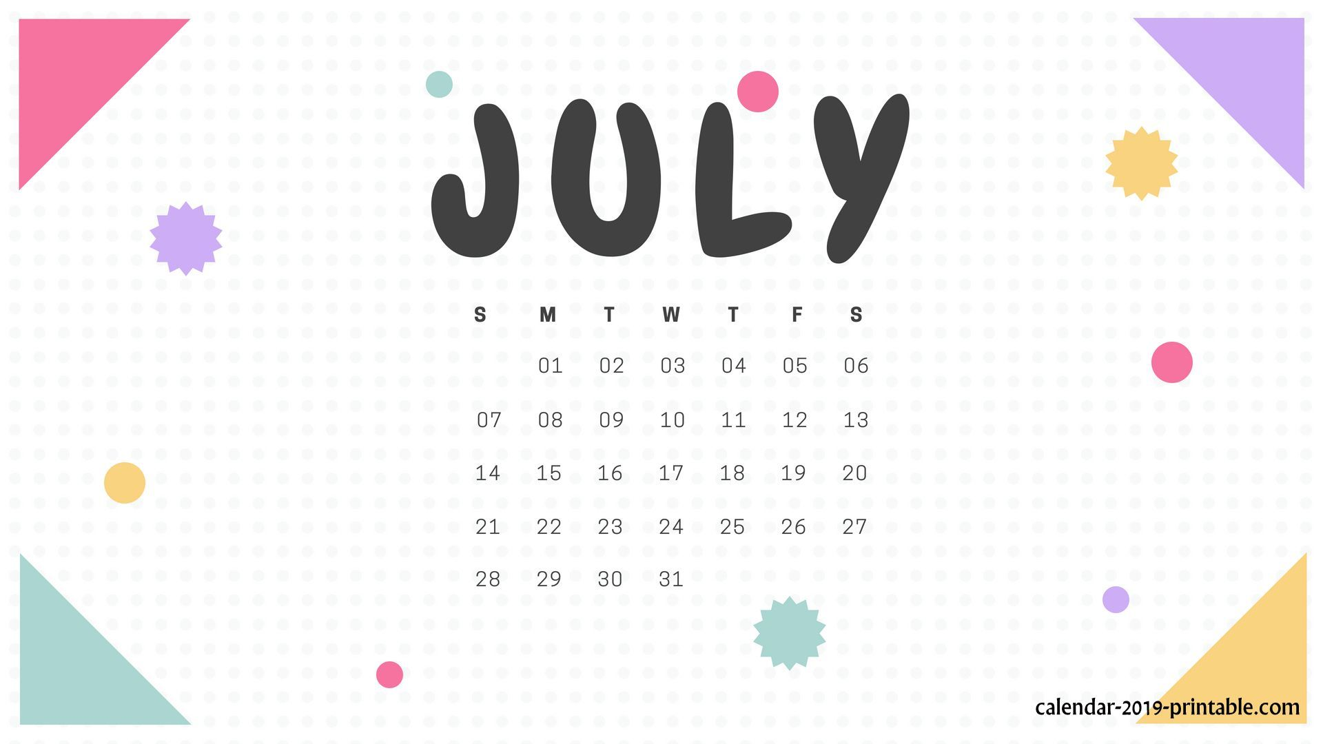 Calendar July 2019 Printable Pages