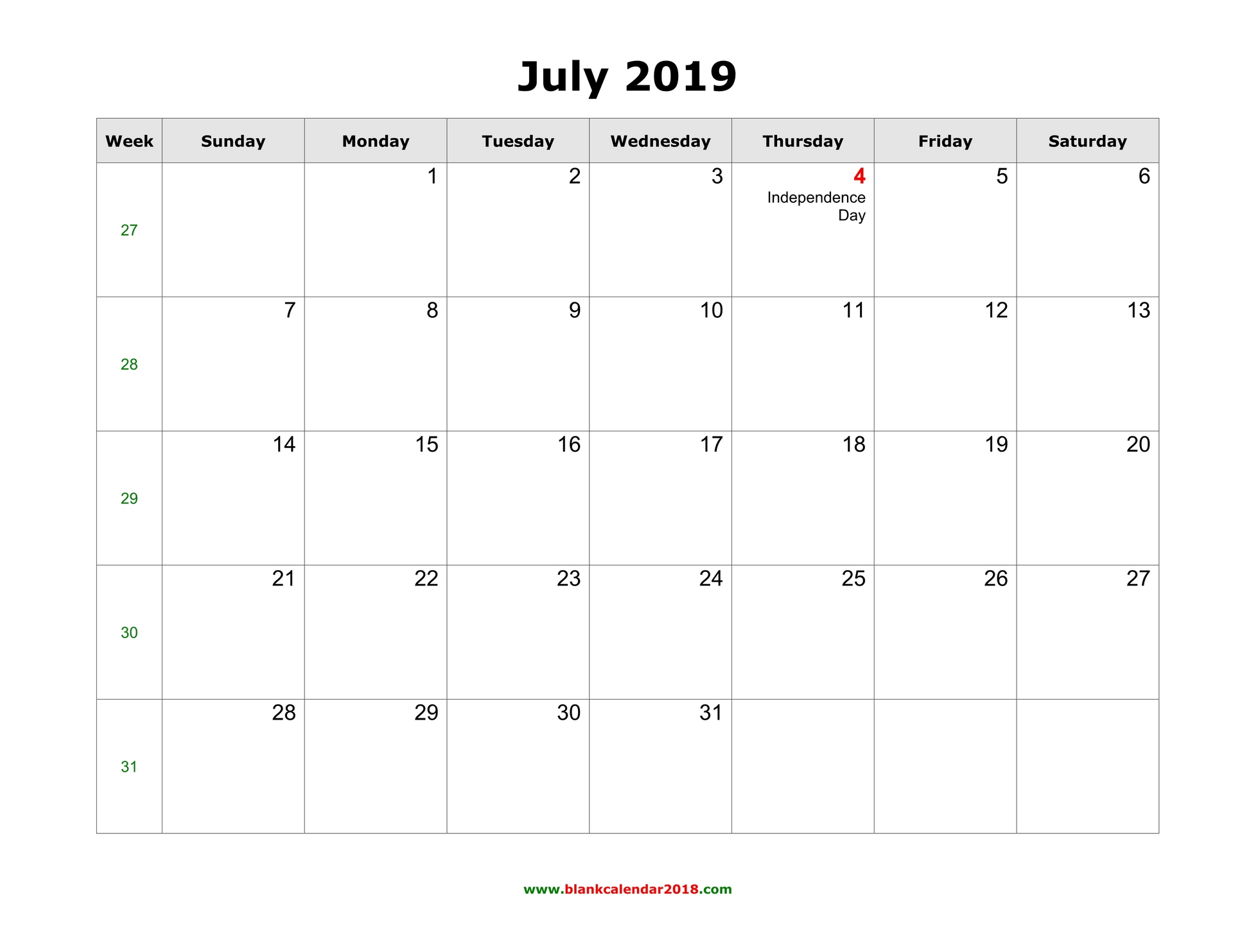 Calendar July 2019 Printable Template