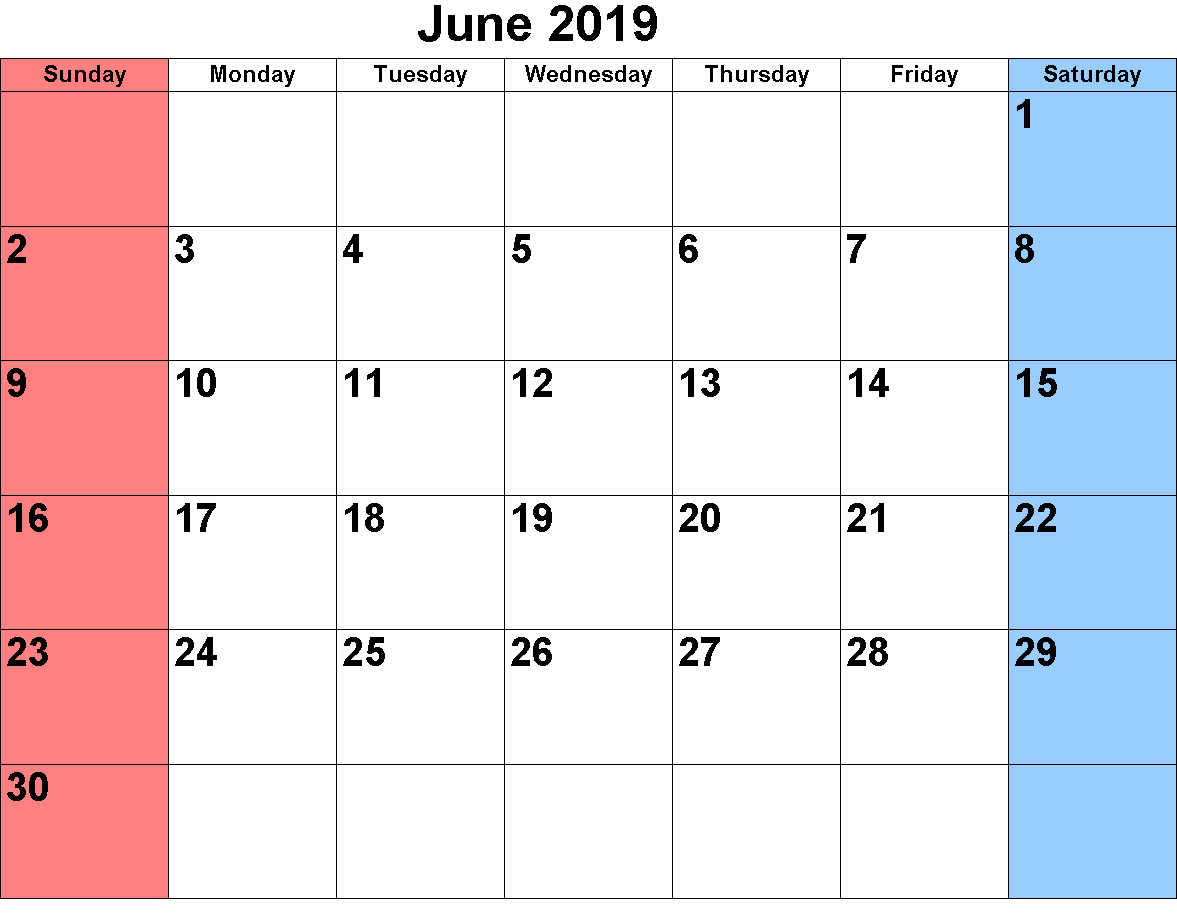 Calendar June 2019 Printable Sheet and Pages