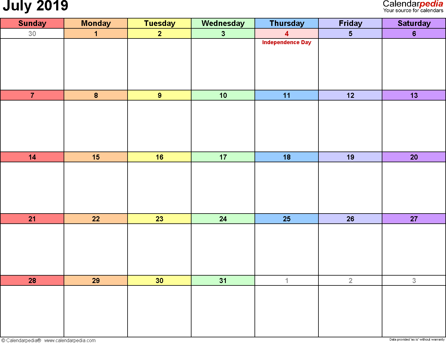 Fillable July Month Calendar 2019 Word