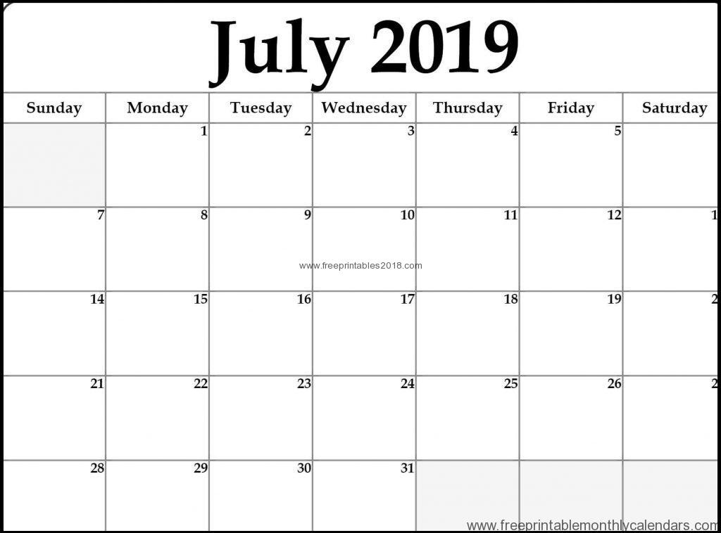 Free Printable Calendar July 2019 Template