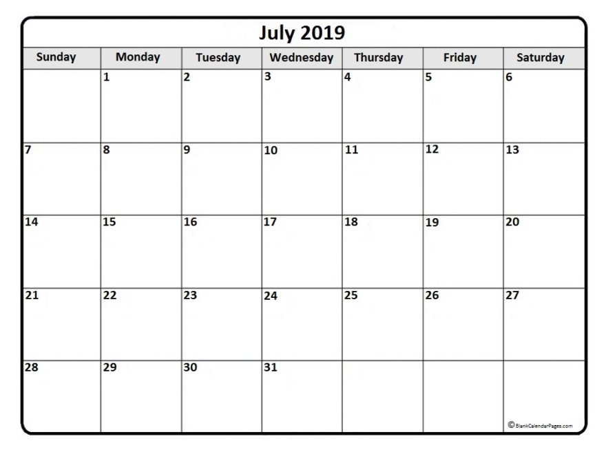 July 2019 Monthly Calendar