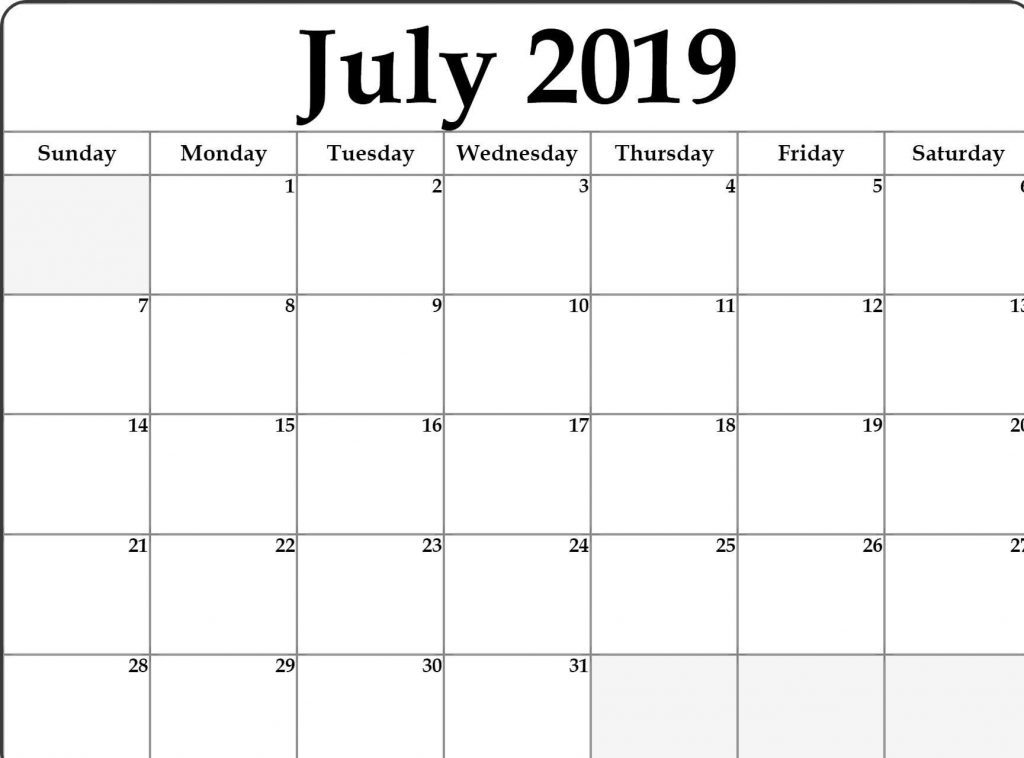 July 2019 Monthly Printable Calendar Template