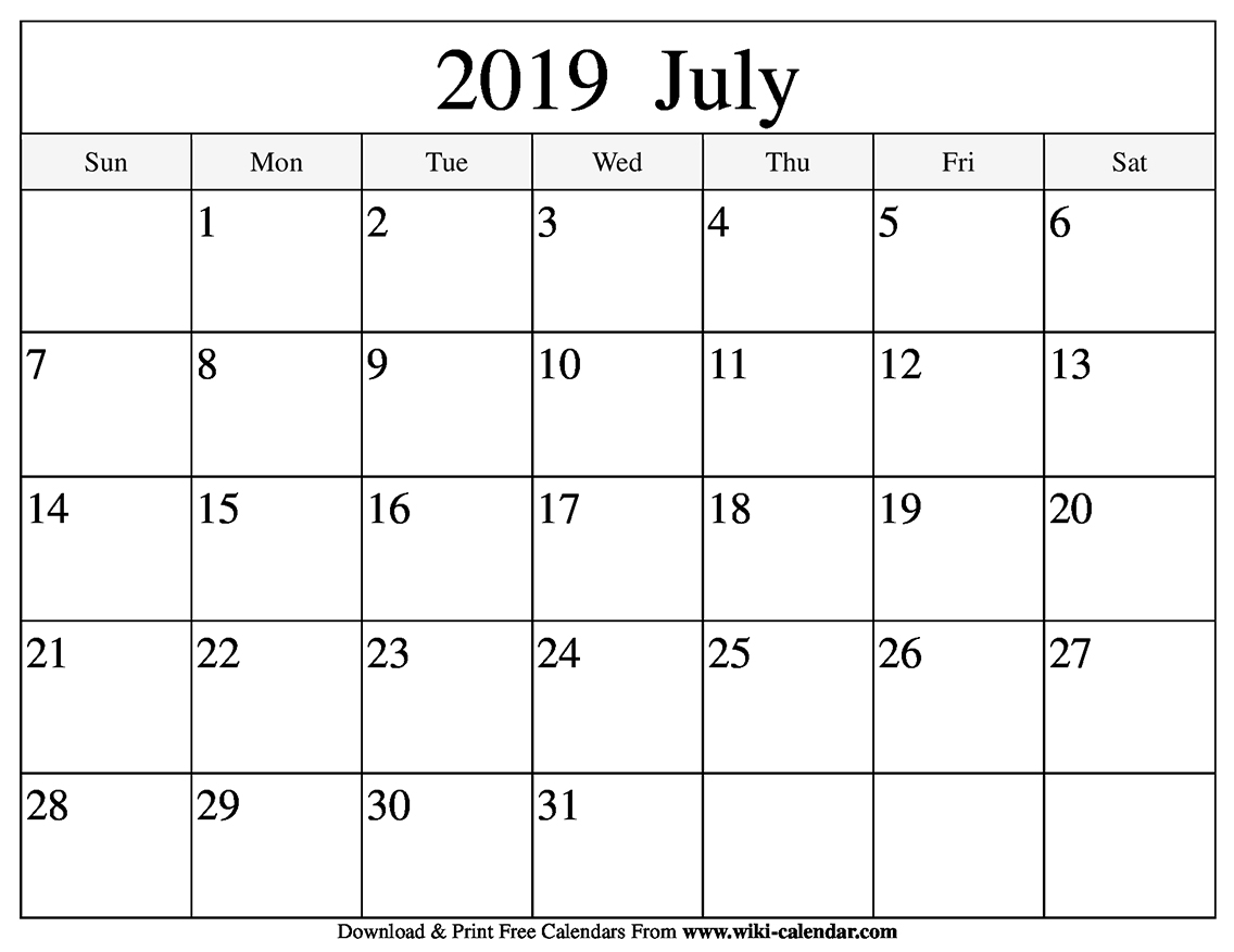 Calendar for July 2019 Template Excel, Word, PDF