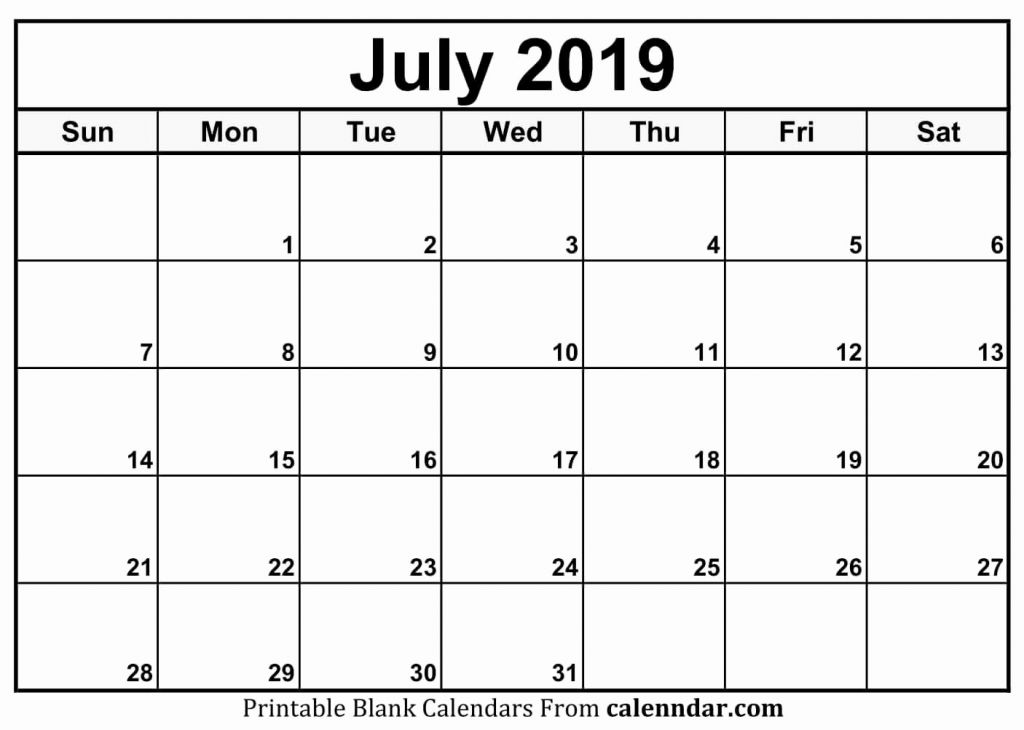 July 2019 Calendar Template Word Pdf Excel Format