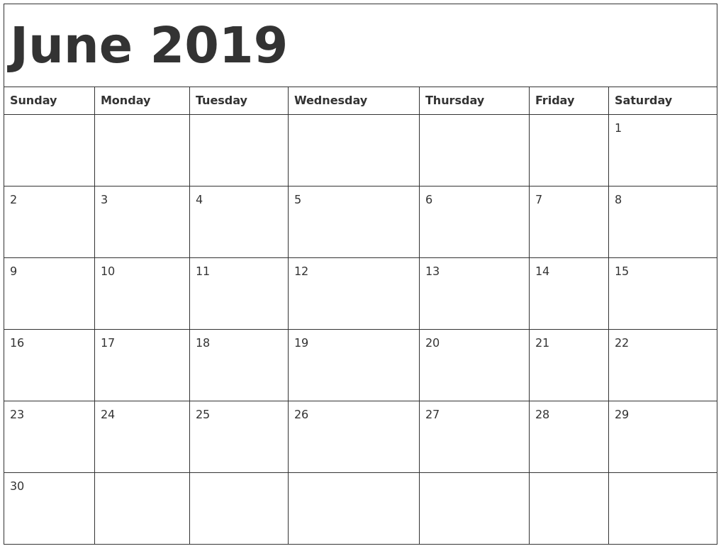 June 2019 Calendar Excel Template