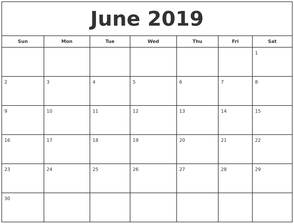 June 2019 Calendar Printable Template