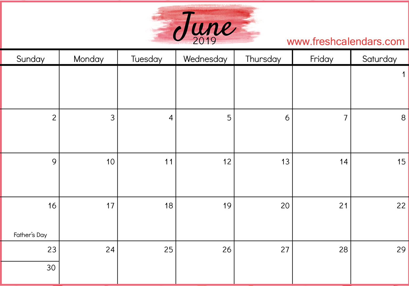 June 2019 Calendar Template Word