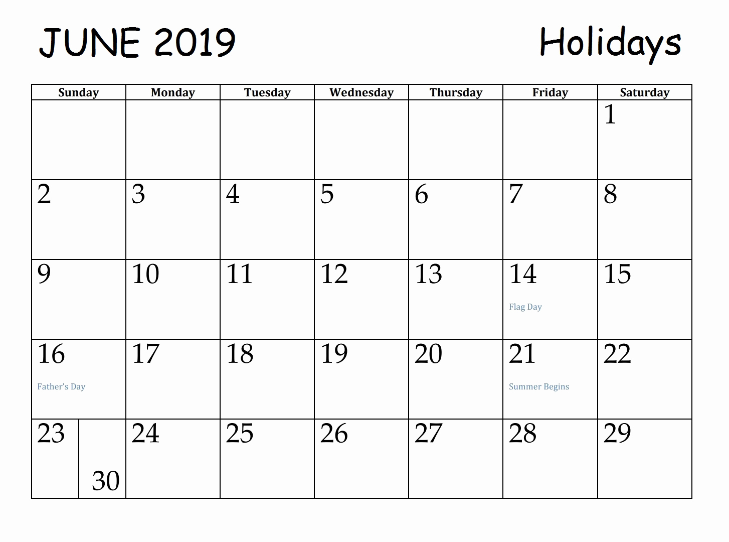 June 2019 Calendar With Holidays US